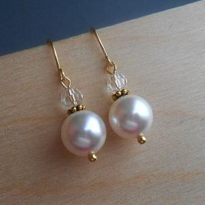 Pearl Earrings In Gold With White S..