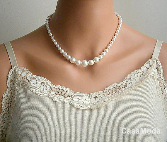 Pearl Necklace Bridesmaids Gifts Pearl Necklace With White Swarovski Crystal Pearls